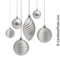 decoração, jogo, prata, natal