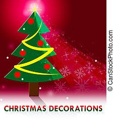decoração, meios, ilustração, decorações natal, xmas, 3d