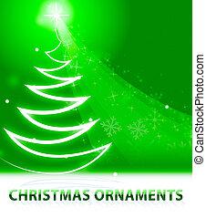decoração, meios, ilustração, ornamentos natal, xmas, 3d