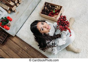 decoração, mulher, natural, natal