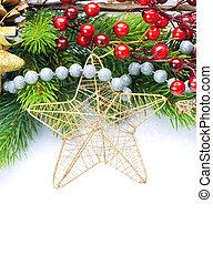 decoração natal, borda, desenho, isolado, branco