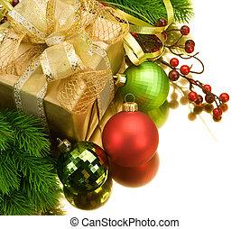 decoração natal, borda, design., isolado, branco