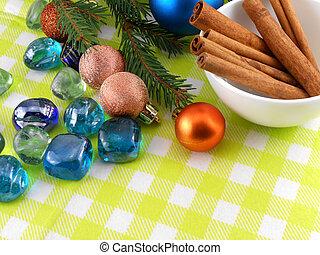 decoração natal, canela, baubles, pedras, em, amarela, macro, closeup
