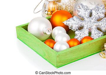 decoração natal, com, espaço cópia, branco, fundo
