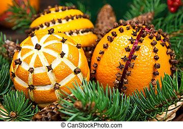 decoração natal, com, laranjas, e, árvore abeto