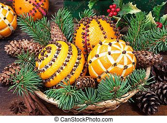 decoração natal, com, laranjas, em, a, cesta, e, árvore abeto