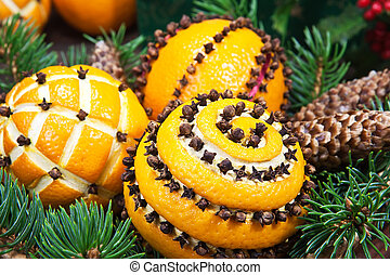 decoração natal, com, laranjas