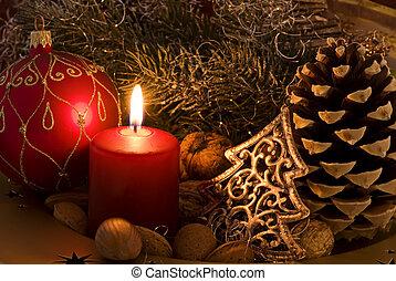 decoração natal, com, luz vela