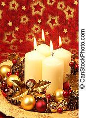 decoração natal, com, velas