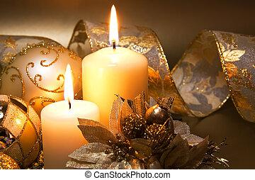 decoração natal, com, velas, sobre, experiência escura