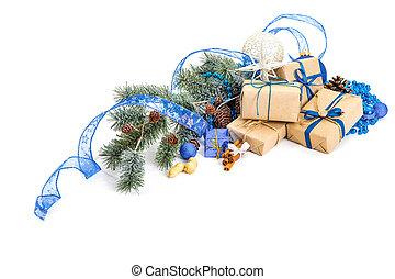 decoração natal, decorações feriado, isolado, branco
