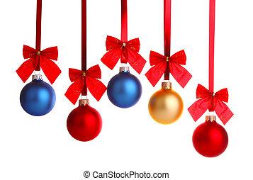 decoração natal, ligado, fita, com, arco vermelho