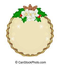 decoração natal, redondo, quadro