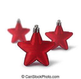 decoração, Natal, três, estrelas, vermelho