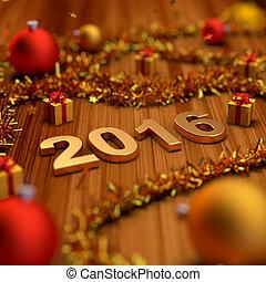 decoração, novo, 2016, ano