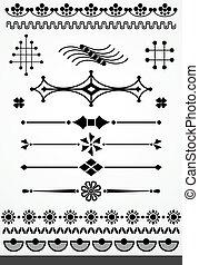 decoração, página, linha, vetorial, el