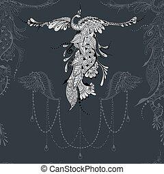 decoração, pássaro, phoenix, renda