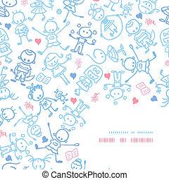 decoração, padrão, crianças, fundo, canto, tocando
