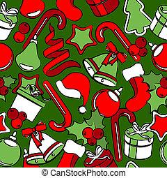 decoração, padrão, seamless, tradicional, natal