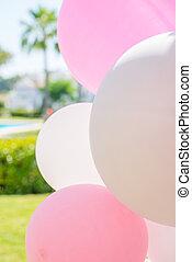 decoração, Partido, aniversário, balões, jardim