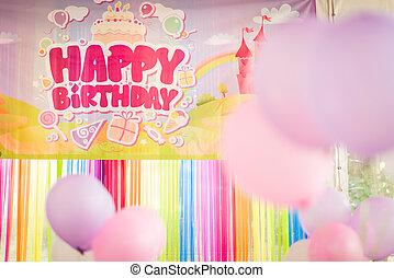 decoração, Partido, aniversário