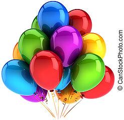 decoração, partido, balões, coloridos