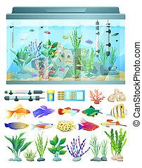 decoração, peixe, aquário, ilustração