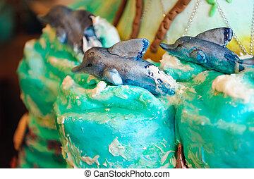 decoração, peixe, de, bolo casamento