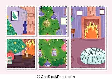 decoração, postais, presentes, natal, chaminé, jogo, suba árvore casa