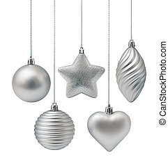 decoração, prata, natal