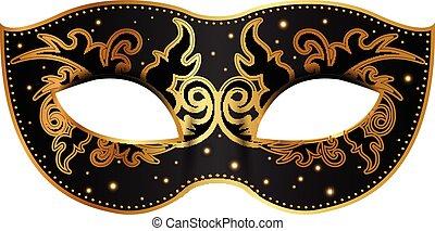 decoração, pretas, máscara, ouro