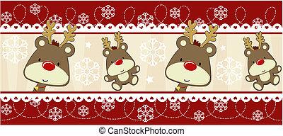 decoração, rudolph, bandeira, natal