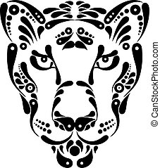 decoração, símbolo, tatuagem, ilustração, pantera