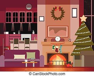 decoração, sala de estar, natal