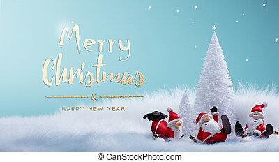 decoração, santa, feriados, árvore, ornamentos, natal