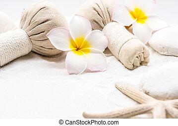 decoração, spa, areia, branca, massagem