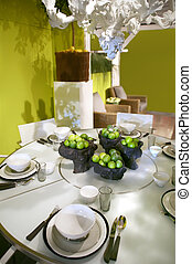 decoração, tabela, verde
