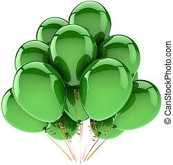 decoração, verde, hélio, bexigas