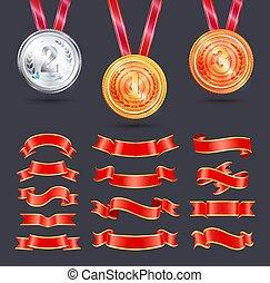 decoração, vetorial, fitas, medalhas, metálico