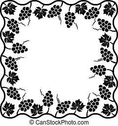 decoração, videira, vetorial, uva, fundo