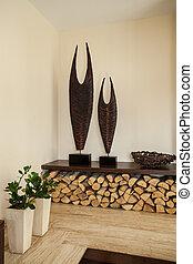 decoração, vivendo, house:, sala, travertine