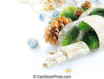 decorações, fundo, isolado, natal, branca