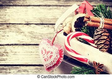 decorações natal, em, vindima, estilo