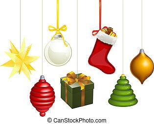 decorações, natal, ilustração