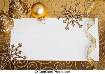 decorações natal, ligado, ouro