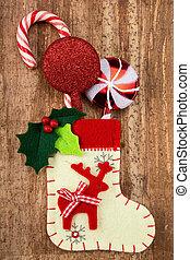 decorações, natal, meia