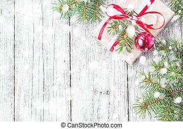 decorações, presente, madeira, neve, caixas, tábua, fundo, christmas branco