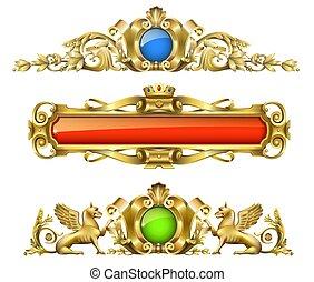 decoración, arquitectónico, oro, clásico