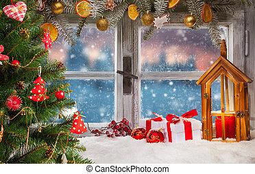 decoración, atmosférico, alféizal ventana, navidad