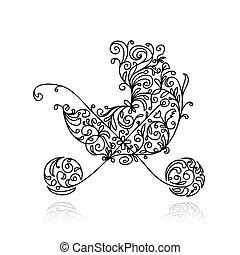 decoración, bebé, diseño, floral, cochecito de niño, su